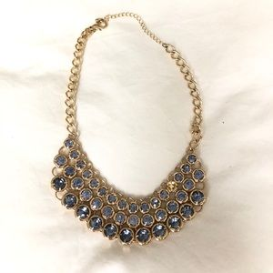 NWOT Gold and Blue Statement Necklace